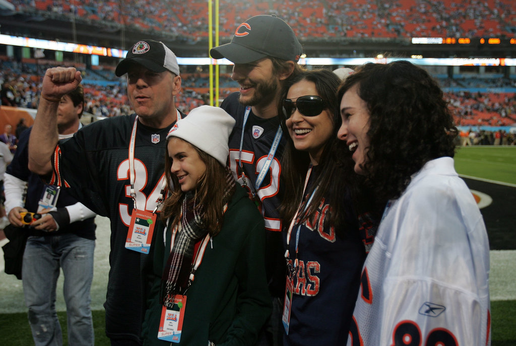 Bruce Willis, Demi Moore, and Ashton Kutcher were with Tallulah and Rumer Willis in 2007 to see the Colts play the Bears.
