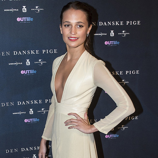Alicia Vikander Wearing a Cream Louis Vuitton Dress