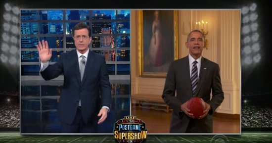 President Obama Predicts Super Bowl 2016 Winner, Michelle Obama Does Touchdown Dance on Stephen Colbert's 'Live Late Show'
