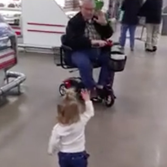 Little Girl Waving to Strangers at the Supermarket