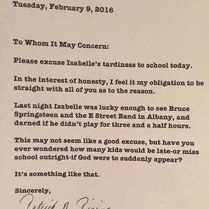 Dad Writes Bruce Springsteen School Excuse Note