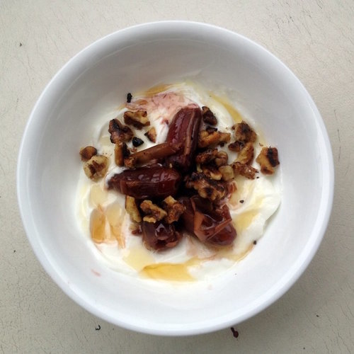 Greek Yogurt with Red Wine-Infused Dates, Toasted Walnuts & Honey