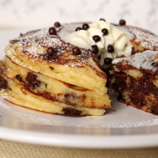 Treat Yourself to Chocolate Chip Almond Butter Pancakes