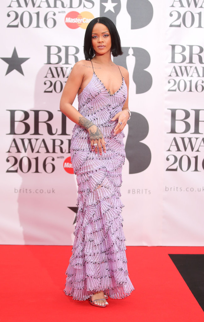 Rihannas Armani Dress At The Brit Awards 2016 POPSUGAR