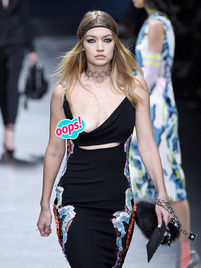 Gigi Hadid's Single Boob Flash on Versace Runway Earns Her a High-Five From Donatella