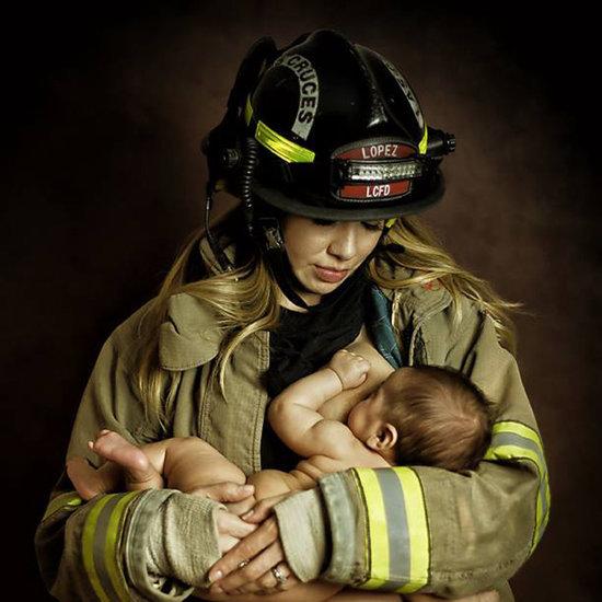 Firefighter Mom Breastfeeding in Uniform