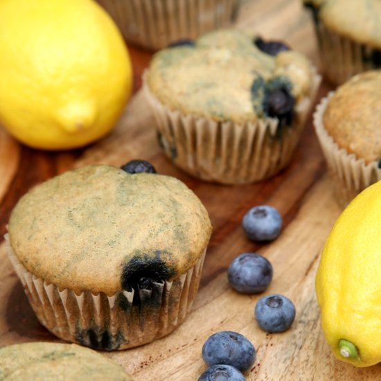 Healthy Lemon Blueberry Muffins
