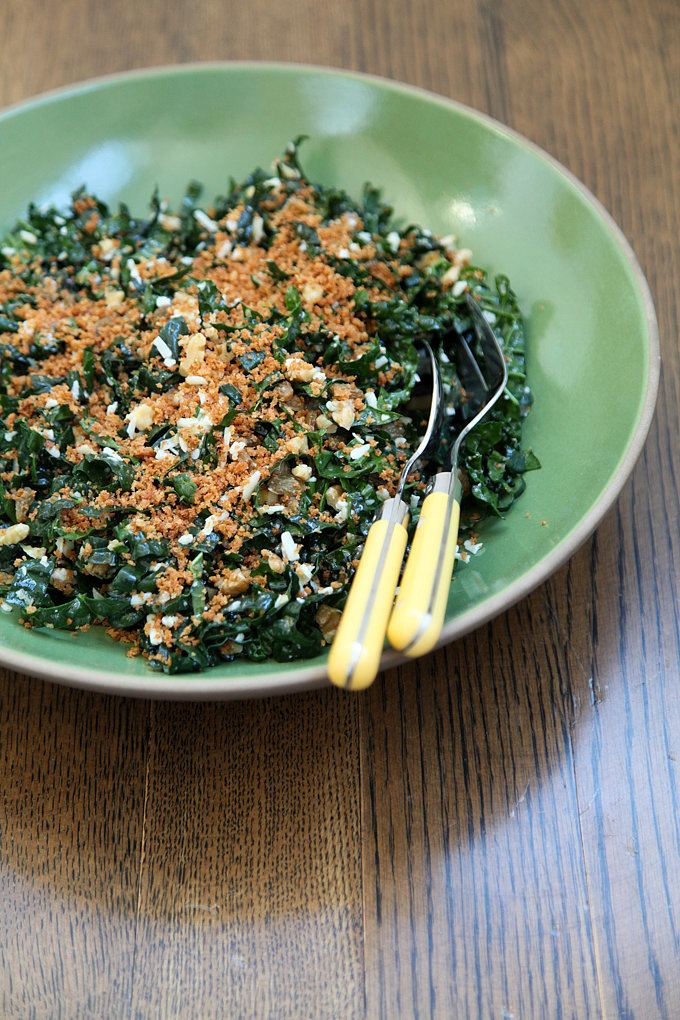 Kale Salad With Walnuts, Golden Raisins, and Toasted Breadcrumbs