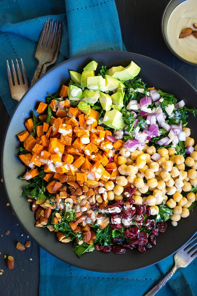 Chopped Kale Power Salad With Lemon-Tahini Dressing