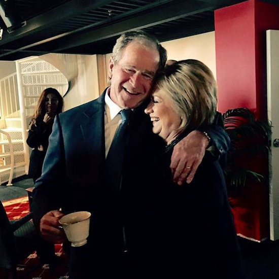PHOTO: George W. Bush and Hillary Clinton Share a Giggly Embrace at Nancy Reagan's Funeral; Twitter Has Opinions