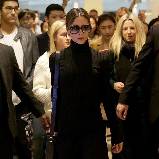 Victoria Beckham Black Turtleneck in Hong Kong March 2016