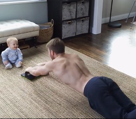 Dad Working Out With Cute Kids Using Flyup | Video