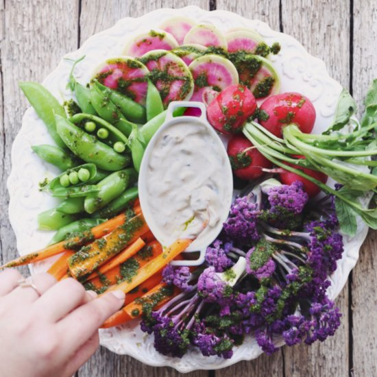 Crudite With Chimichurri and Balsamic Onion Dip Recipe