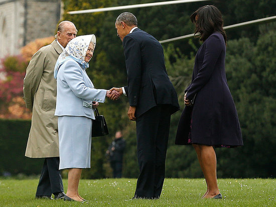 Queen Elizabeth Welcomes President Barack Obama and First Lady Michelle Obama for a Belated Birthday Lunch at Windsor Castle