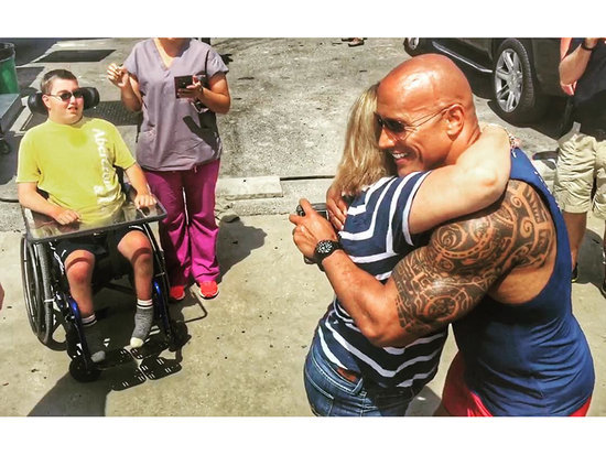 Dwayne 'The Rock' Johnson Puts Baywatch Production on Hold to Meet with Special Needs Fan, Hugs Crying Mom