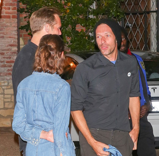 Chris Martin at Kate Hudson's birthday party with Alexa Chung and Alexander Skarsgard