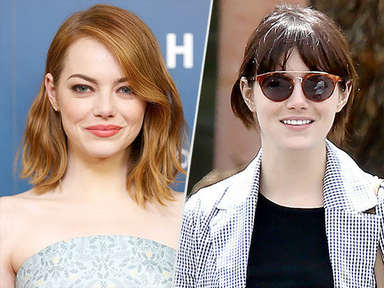 Emma Stone's Brunette-with-Bangs Makeover Had Us Doing a Double-Take