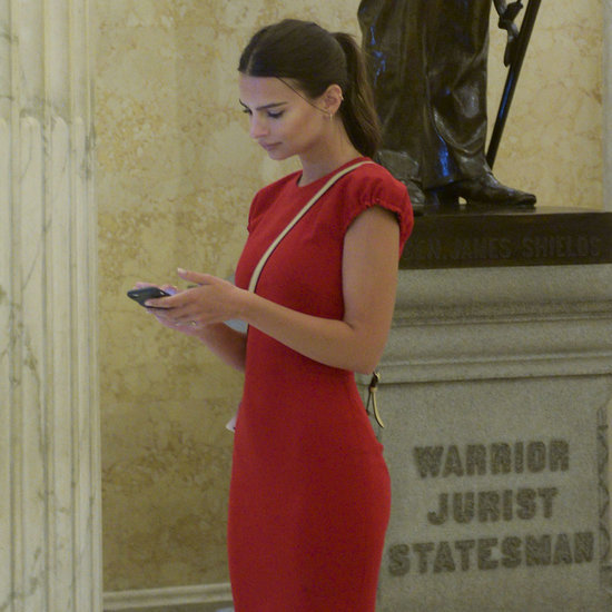 Emily Ratajkowski's Red Dress on Capitol Hill 2016