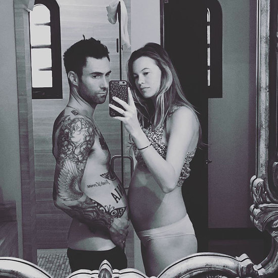Adam Levine Pops His Belly for Selfie with Expectant Wife Behati Prinsloo: 'I'm Pregnant Too'