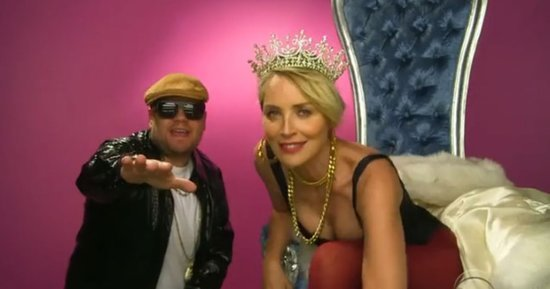 James Corden Performs Hilarious Rap With Sharon Stone: 'Wanna Date Her?'