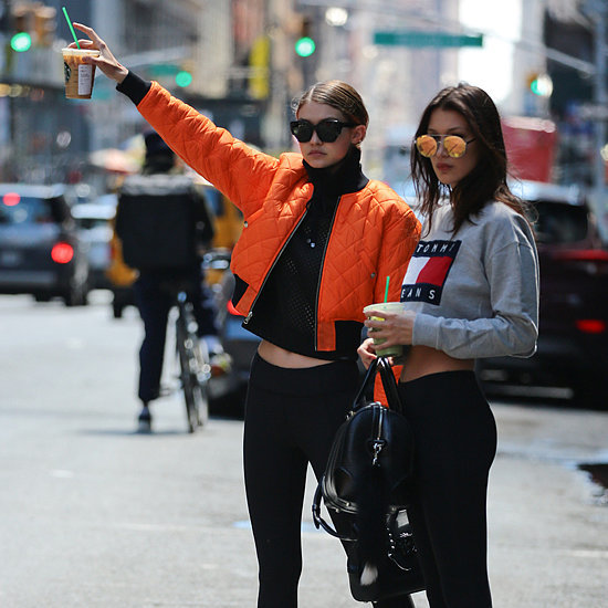 Gigi and Bella Hadid Hailing a Cab in Crop Tops May 2016