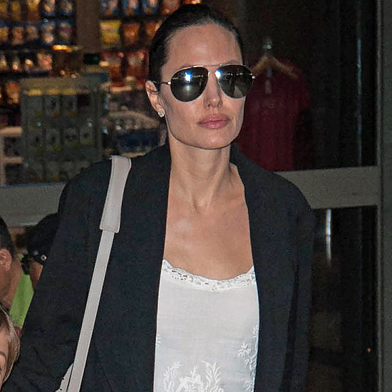 Angelina Jolie White Dress at Airport May 2016
