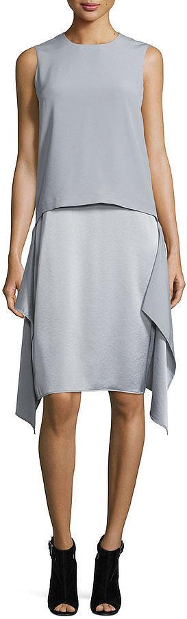 DKNY Sleeveless Draped Popover Dress, Cement ($335)