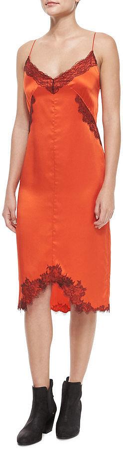 Rag and Bone Izabella Silk Lace Slip Dress, Spicy Orange ($695)