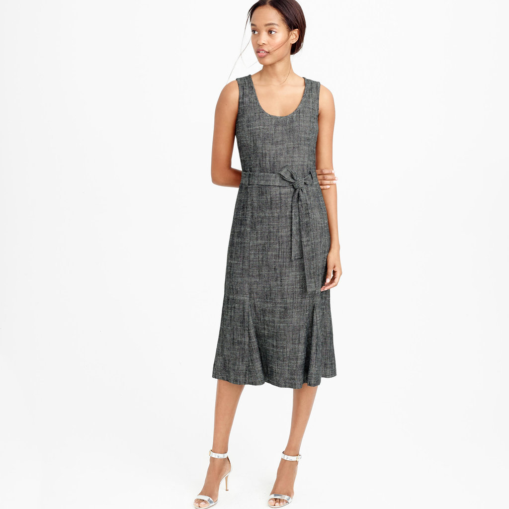 J. Crew Belted dress in textured herringbone ($178)