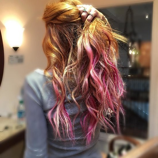 Bella Thorne Red and Pink Hair June 2016