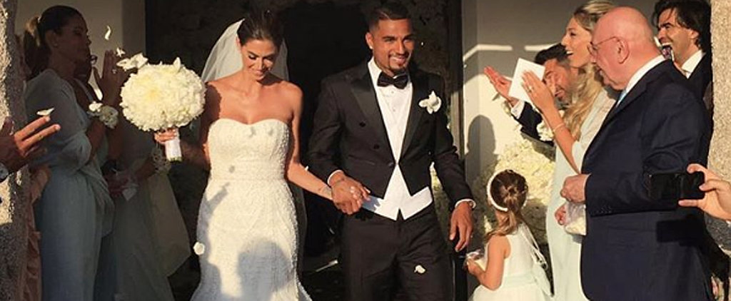 This Footballer's Bride Was a Pro at Picking Out Her Wedding Dress