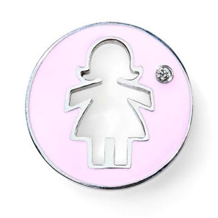 Daisy Pink Enamel with Single Diamond 14k White Gold