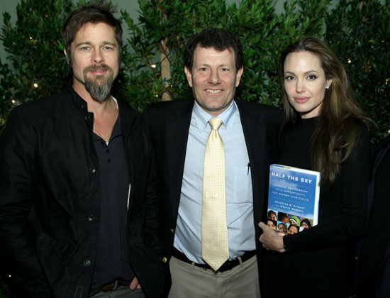 Photos of Angelina Jolie, Brad Pitt, And Marisa Tomei Celebrating Nicholas Kristof's New Book, Half the Sky,