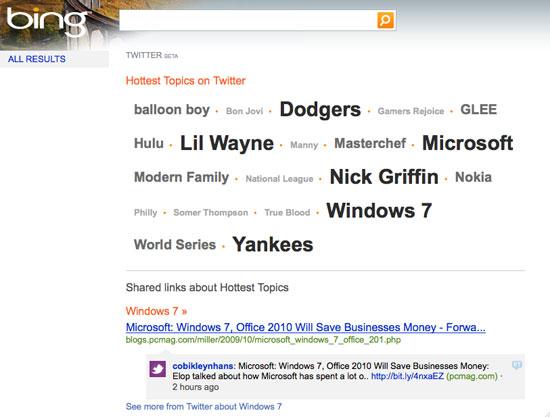 Twitter + Bing and Google