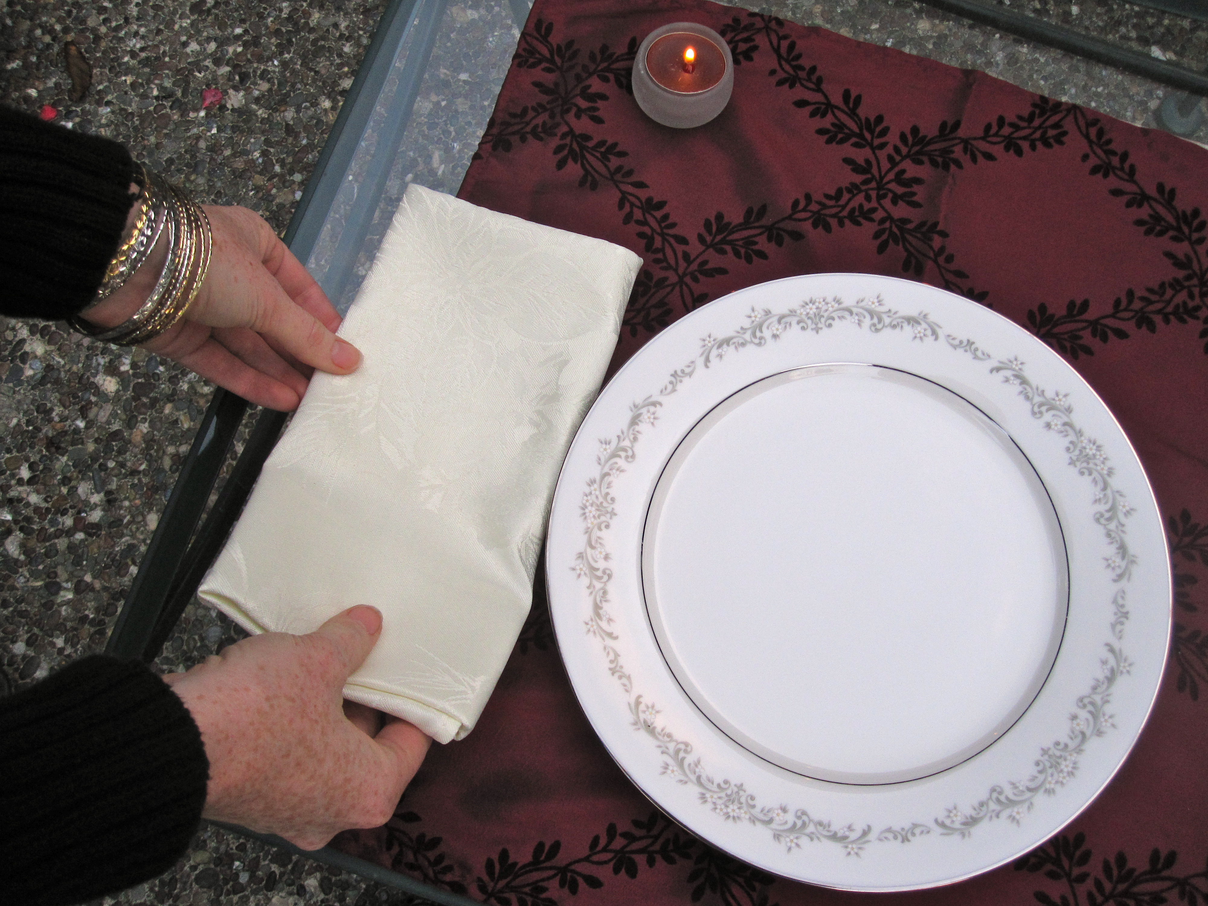 Set the napkin down.