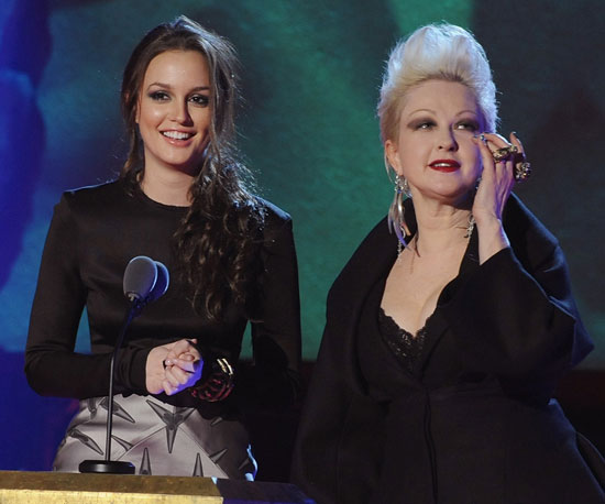 Slide Photo of Leighton Meester and Cyndi Lauper on Stage at Woodie Awards in NYC
