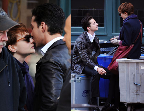 Photos of Shia LaBeouf Kissing Carey Mulligan on Set of Wall Street 2