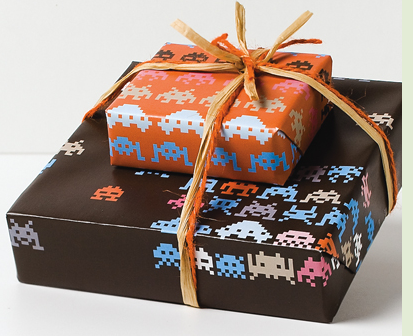 Space Invaders Take Over Your Holiday Gift Wrap