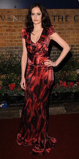 Actress Eva Green in Red-Print Dress at The British Independent Film Awards