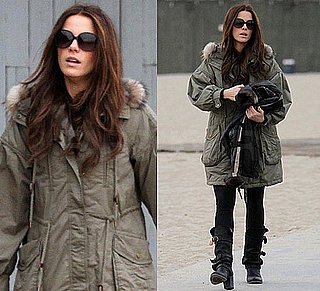 Photos of Kate Beckinsale in Buckled Boots and Green Parka in Venice Beach, CA