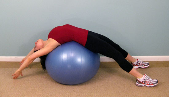 How stretch your back using exercise ball