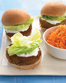 Veggie Burgers With Mint-Yogurt Sauce