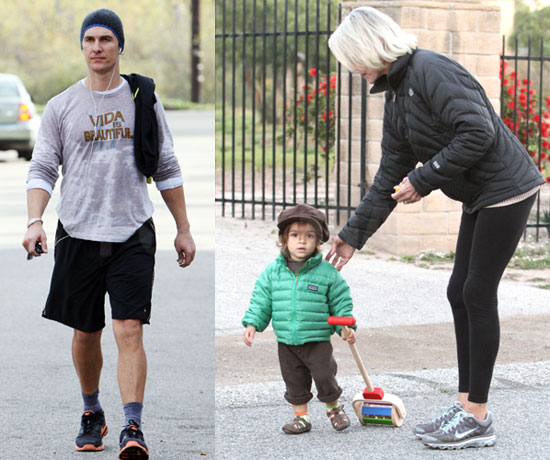 Photos of Matthew McConaughey Wearing a Shirt That Says Vida Is Beatiful in LA With Levi