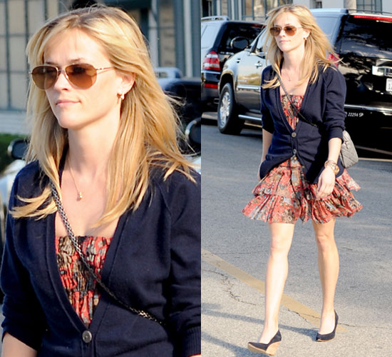 Photos of Reese Witherspoon in Floral Dress and Cardigan in Beverly Hills, LA