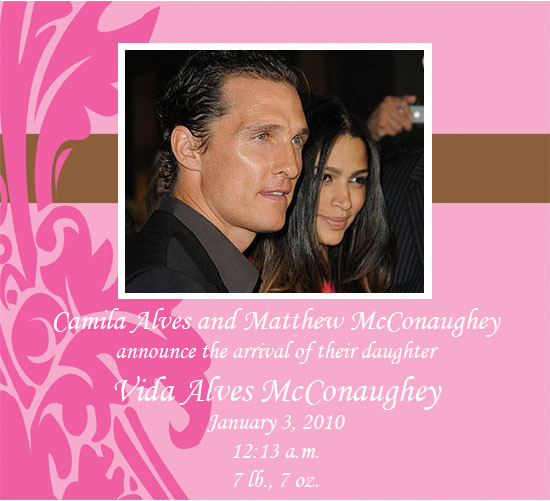 Matthew McConaughey and Camila Alves Have Baby Girl Vida McConaughey