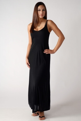 Rick Owens Lilies Tube Tank Dress in Gray and James Perse Jersey Maxi Dress in Black