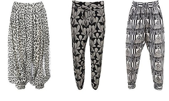 Shopping: Black & White Printed Harem Trousers