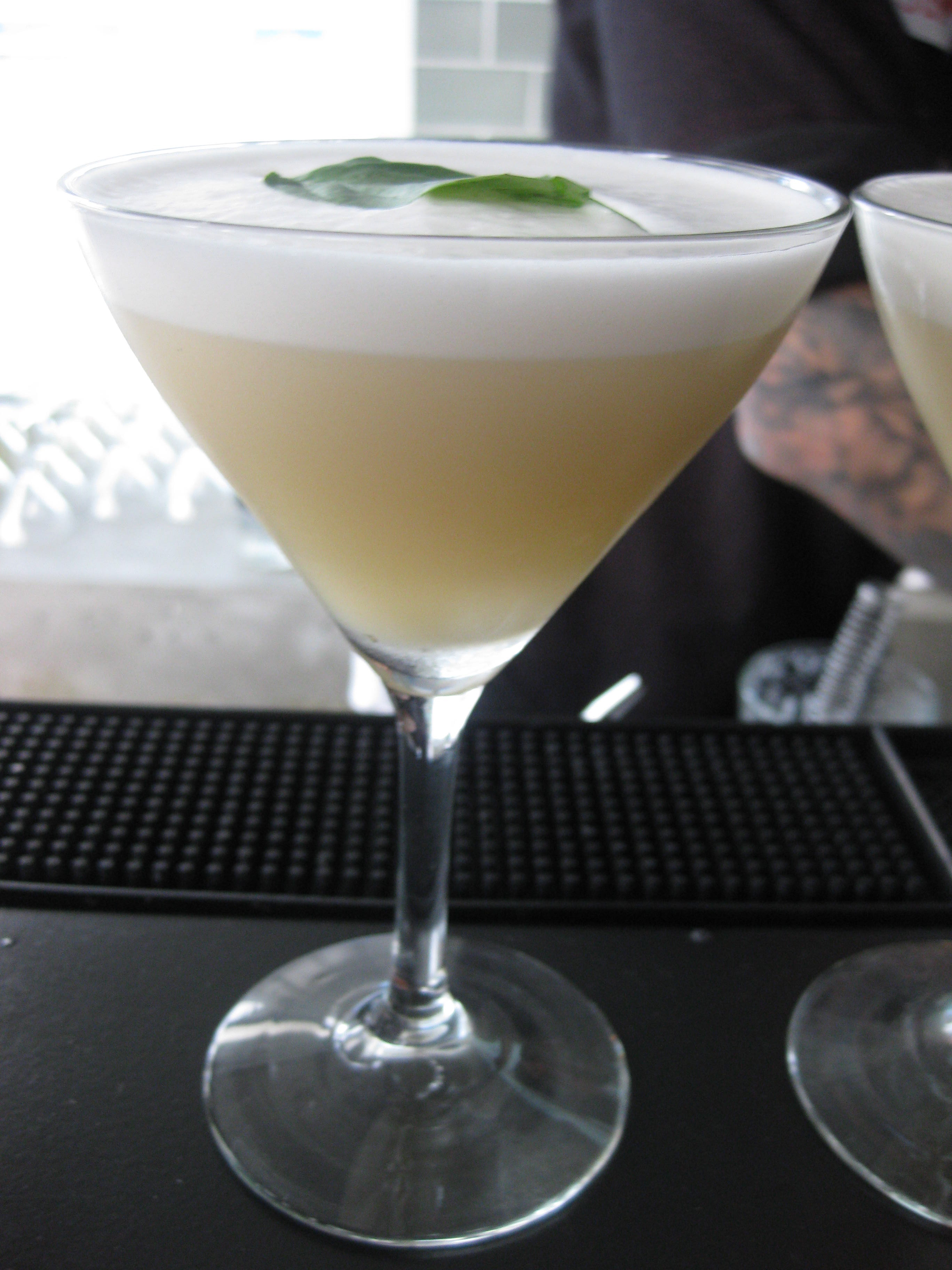 The first cocktail featured basil and egg whites.