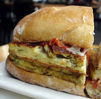 Recipe For 'Wichcraft's Onion Frittata Sandwich With Roasted Tomato and Cheddar