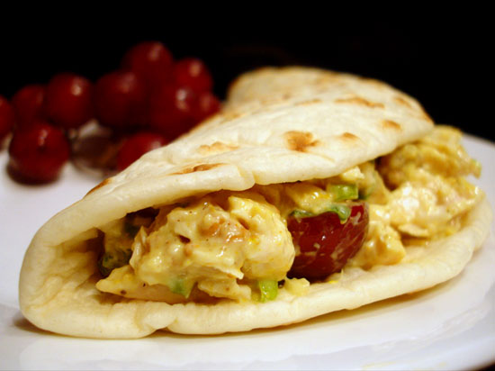 Recipe For Chicken, Walnut, and Red Grape Salad With Curry Dressing on Flatbread